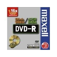 CD(R)W, DVD(R)W en blu-Ray - Maxell DVD-R 4,7GB General JC 16X f. Apple, Pioneer, Hitachi 5pc - 275517