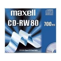 CD(R)W, DVD(R)W en blu-Ray - Maxell CD-RW 80 Jewelcases 10 pcs 700MB 1-4X ReWritable - 10 pcs - 624860