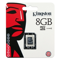 Memory Keys  - Kingston 8GB MICROSDHC CLASS 4 SINGLE PACK W/O AD - SDC4/8GBSP
