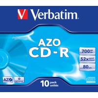 CD(R)W, DVD(R)W en blu-Ray - Verbatim AZO Crystal - 10 x CD-R - 700 MB 52x - jewel case - 43327