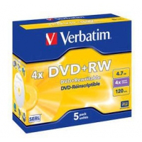 CD(R)W, DVD(R)W en blu-Ray - Verbatim DataLifePlus - 5 x DVD+RW - 4.7 GB 4x - jewel case - 43229