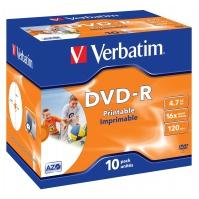 CD(R)W, DVD(R)W en blu-Ray - Verbatim - 10 x DVD-R - 4.7 GB 16x - breed oppervak dat geschikt is om fotos op af te drukken - jewel case - 43521