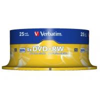 Disks en tapes - Fujifilm Verbatim - 25 x DVD+RW - 4.7 GB 4x - dof zilver - spindel - 43489